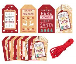 40pcs Merry Christmas Gift Tags – Xmas Party Decoration Craft Hang Paper Tags for New Year ...