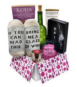 Wine Gift Basket Box with Wine Socks, Wine Aerator, Godiva Chocolate and more | Gifts for Women