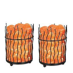 WBM 1332B Natural Pillar Style Basket Lamps, (7 lbs) ETL Certified Pure Himalayan Salt Basket Ni ...