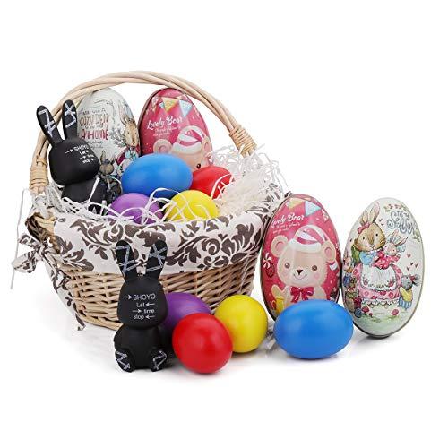 Kids Easter Toys Kits – Wood Chip Easter Basket with Liners , Wood DIY Easter Egg , Easter ...