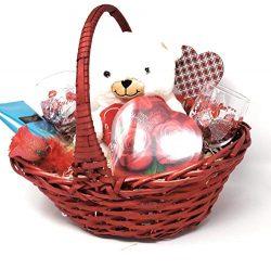JGT Premium Romantic Gift Basket Set, Red Oval Willow Basket, White Teddy Bear Plush, (2) Valent ...