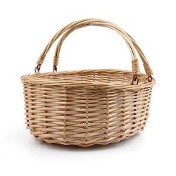 MEIEM Wicker Basket Picnic Basket Gift Baskets Empty Oval Willow Woven Basket Easter Basket Larg ...