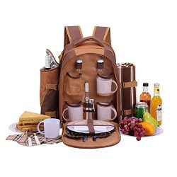 APOLLO WALKER Picnic Backpack Bag for 4 Person With Cooler Compartment, Detachable Bottle/Wine H ...