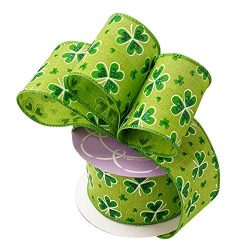 St Patrick's Day Wired Ribbon – Glittery Emerald Green Shamrocks on Green Ribbon, Sa ...