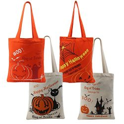 Halloween Tote Trick or Treat Bag for Kids Candy Basket Party Pumpkin Canvas with Handle Pumpkin ...