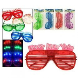 Light Up New Years Eve Party Shutter Glasses Glowing LED Shades Pack of 2