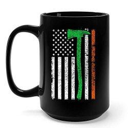 Funny Irish Gifts Proud Irish American Flag St Patrick's Day Shamrock Clover Mug -15 Ounce ...
