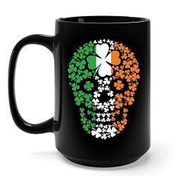 Funny Irish Gifts Irish Skull With Clover St Patricks Day Shamrock Clover Mug -15 Ounce Black Ce ...