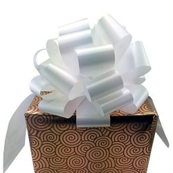 Large White Ribbon Pull Bows – 9″ Wide, Set of 6, Bows for Gifts, Valentine's  ...
