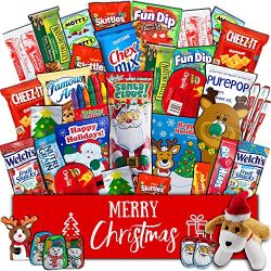 Christmas Gift Package – (40 count) Classic Snacks Box with Assortment of Festive Holiday  ...