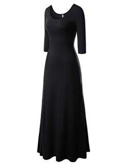 NEARKIN (NKNKW5LD652 Beloved Womens Scoop Neck Slim Cut Stretchy Maxi Dress Black US L(Tag Size XL)