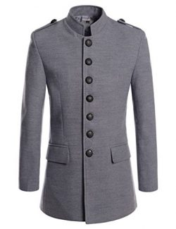 NEARKIN (NKNKSC7033) Mens Chinese Collar Single Breasted Wool Blended Jacket Coat GRAY US XXXL(T ...