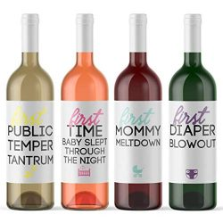 8 Mommy Milestone Wine Bottle Labels Baby Shower Gift Pregnancy Present for Mother-To-Be Pregnan ...