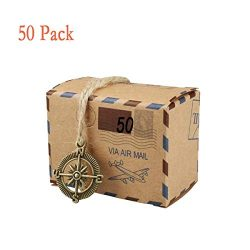 50 PCS Candy Gift Boxes, Bestga DIY Kraft Boxes Retro Post Mail Style Wedding Party Favor Gift B ...