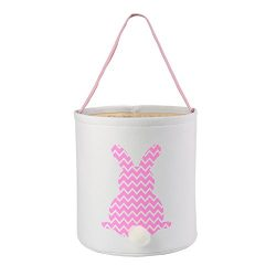 E-FirstFeeling Easter Basket Easter Bunny Bag for Kids Easter Hunt Bag Gift Toy Bucket Tote (Pink)