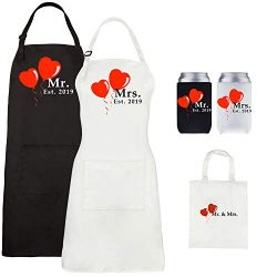 Let the Fun Begin Mr. and Mrs. Aprons Est. 2019, Couples Wedding Engagement Gifts, His Hers Brid ...