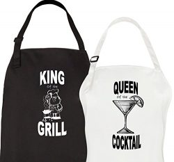 Let the Fun Begin King & Queen Aprons, His Hers Mr Mrs Wedding Engagement Gifts for Couples  ...
