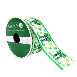 Taffeta Wired Edge Happy St. Patrick's Day Ribbon with Leprechaun Elf Legs 1.5″ x 9& ...