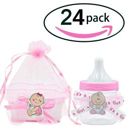 Baby Shower Big Candy Bottle and Candy Basket 24 Pack (Pink)
