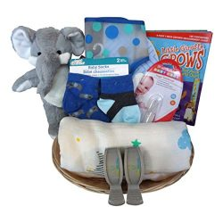 Elephant Baby Gift Basket for Baby Boy or Girl with Muslin Blanket, Growth Chart, Socks (Blue)