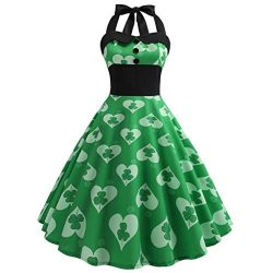 Euone ❀Dress, St. Patrick's Day Women Vintage 1950s Retro Halter Sleeveless Prom Swing Dress