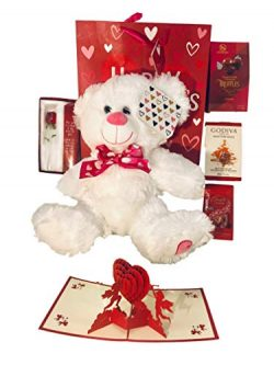 Valentines Day Gift Basket Set | 12 Inch Teddy Bear Plush| 3D Cupids card|Glass Rose| Lindt Lind ...
