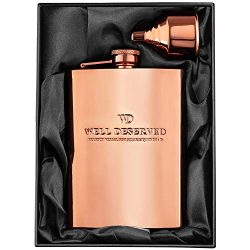 8oz Copper Flask and Funnel Set. Copper 7th Anniversary Gifts For Men/Women, For Him or Her. Gif ...