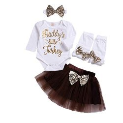 "AutumnFall Clearance!!Newborn Infant Baby Girls"" Daddy's Little Turkey"" Letter ..."