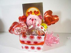 VALENTINES DAY GIFT BASKET BEAR n CANDY BOUQUET CARD TALKING LIPS BALLOON+ MORE