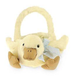 Bearington Plush Yellow Duck Kids Easter Egg Basket, 12″ x 13″