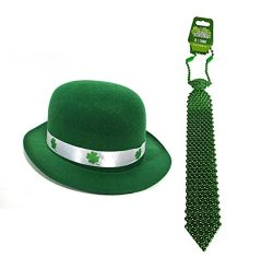 Luck of the Irish St. Patrick's Day Kelly Green Derby Bowler Hat With Shamrock Ribbon &amp ...