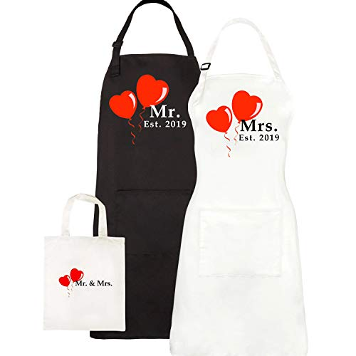Mr. and Mrs. Aprons Est. 2019, Couples Wedding Engagement Gifts, His Hers Bridal Shower Gift Set ...