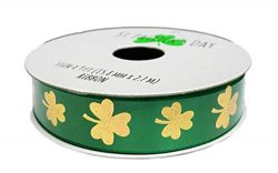 St. Patrick's Day Shiny Gold Shamrocks On Green Satin Holiday Gift Crafting Ribbon 5/8R ...
