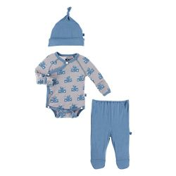 KicKee Pants Little Boys Kimono Newborn Gift Set with Elephant Box – Feather Mouse and Che ...