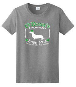 Dog Owner Gifts St Patricks Day Dog Dachshund Doxie Irish Pub Sign Ladies T-Shirt 2XL SpGry Spor ...