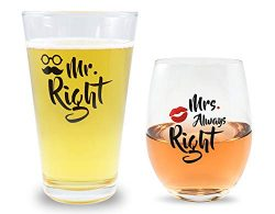 Mr Right and Mrs Always Right Novelty Beer and Wine Glasses Gift Basket Set For Bridal Shower, M ...