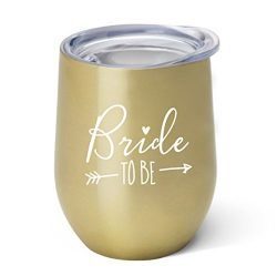 Bride To Be – 10 oz Gold Stainless Steel Wine Tumbler with Lid – Engagement Party |  ...