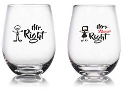 Mr. Right and Mrs. Always Right – 15 oz Novelty Wine Glass Combo – Engagement/Annive ...