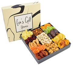 Holiday Nut and Dried Fruit Gift Basket, Roasted Nut Variety Fresh Assortment Fruit Tray, Gourme ...