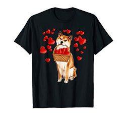 Shiba Inu Holding Heart Basket Valentines Day Tshirt Gifts