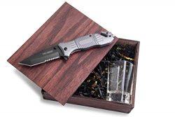 Unique Gift Baskets for Men – Tactical Pocket Knife & Shot Glass Set + Gift Boxes with Lids  ...