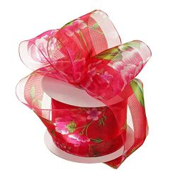 Sheer Red Floral Wired Ribbon – 1 1/2″ x 25 Yards, Vibrant Peonies and Greenery, Val ...