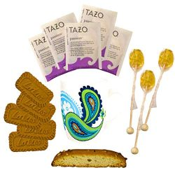Cottage Lane Hot Tea Mug Gift Set Featuring: Tazo Tea, Honey Spoon Stirrer, & a Biscoff Butt ...