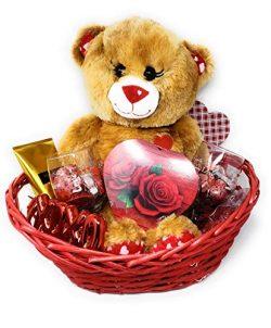 JGT Premium Romantic Gift Basket Set, Red Oval Willow Basket, Brown Teddy Bear Plush, (2) Valent ...