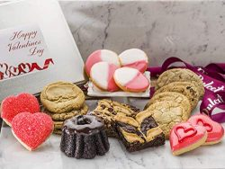Happy Valentine's Day Holiday Gift Tin –Elegant Food Gift Box w/Artfully Decorated Pastries &amp ...