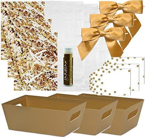 Pursito Gift Basket Making Kit Includes Metallic Gold Market Tray Crinkle Cut Paper