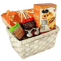 English Tea & Scones Gift Basket with Orange Tea Cookies