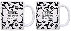 Dog People Gifts Best Dachshund Doxen Mom Ever Paw Pattern Mom Mug 2 Pack Gift Coffee Mugs Tea Cup