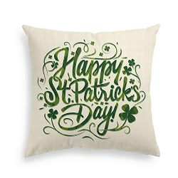 AVOIN Happy Saint Patricks Green Lucky Clover Shamrock Linen Decorative Throw Pillow Cover Case  ...