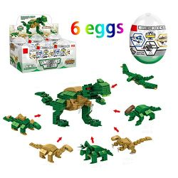 Jofan 6 in 1 Dinosaur Building Blocks Toys Jumbo Easter Eggs with Toys Inside for Kids Boys Girl ...